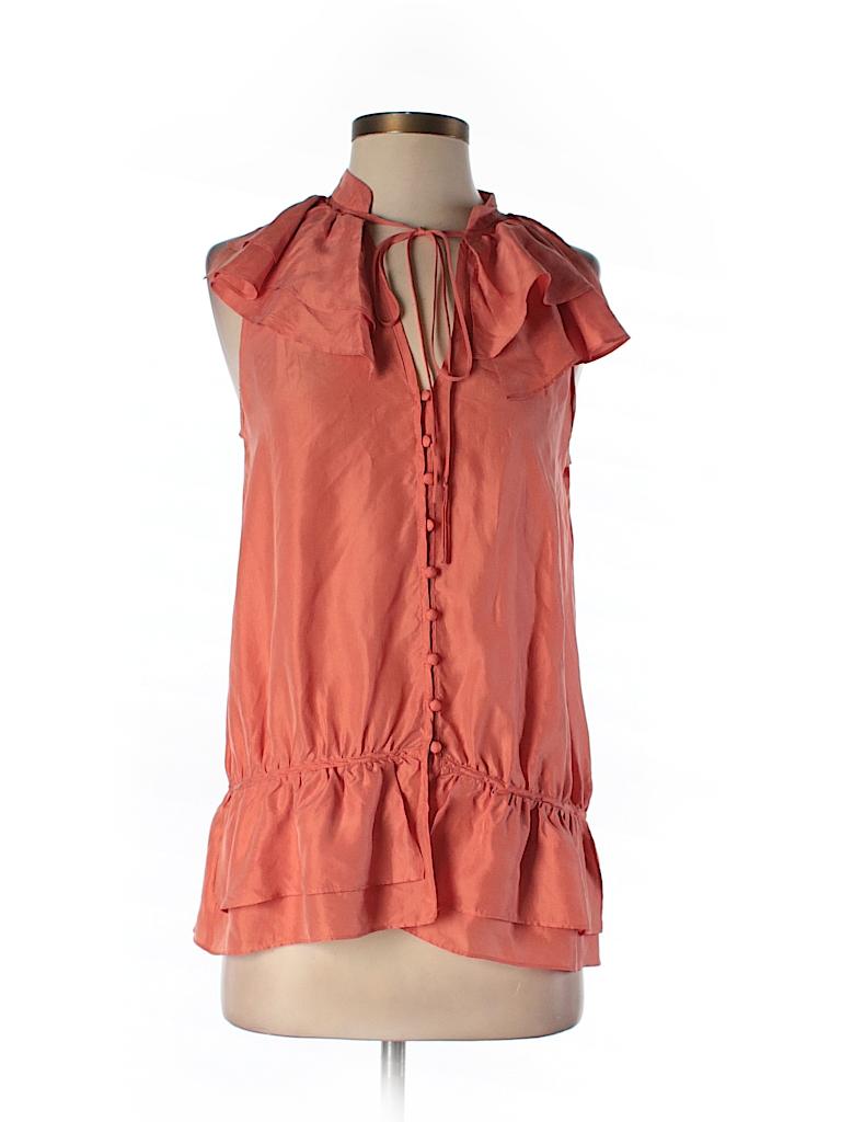 c52e799640cce Ann Taylor LOFT 100% Silk Solid Coral Sleeveless Silk Top Size S ...