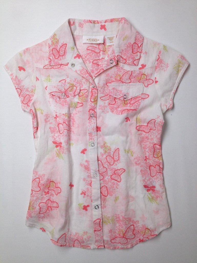 Arizona Jean Company Girls Short Sleeve Button-Down Shirt Size S (Kids)