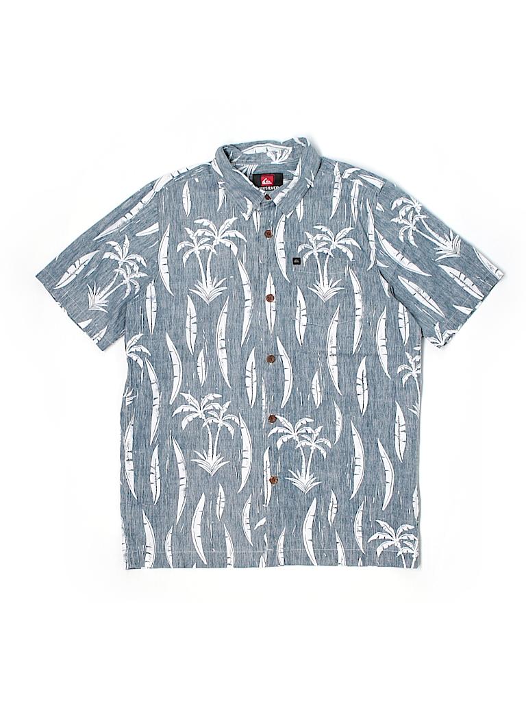 Quiksilver print dark blue short sleeve button down shirt for Bureau quiksilver
