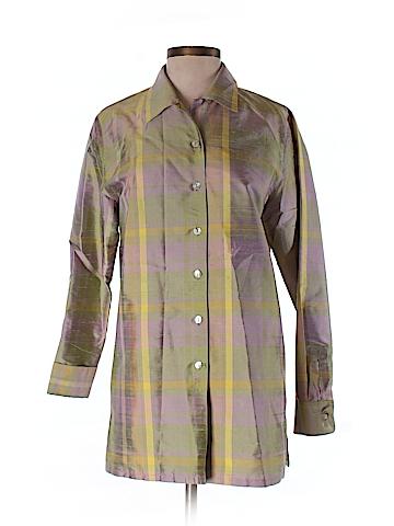 Folio Saks Fifth Avenue Long Sleeve Silk Top Size S