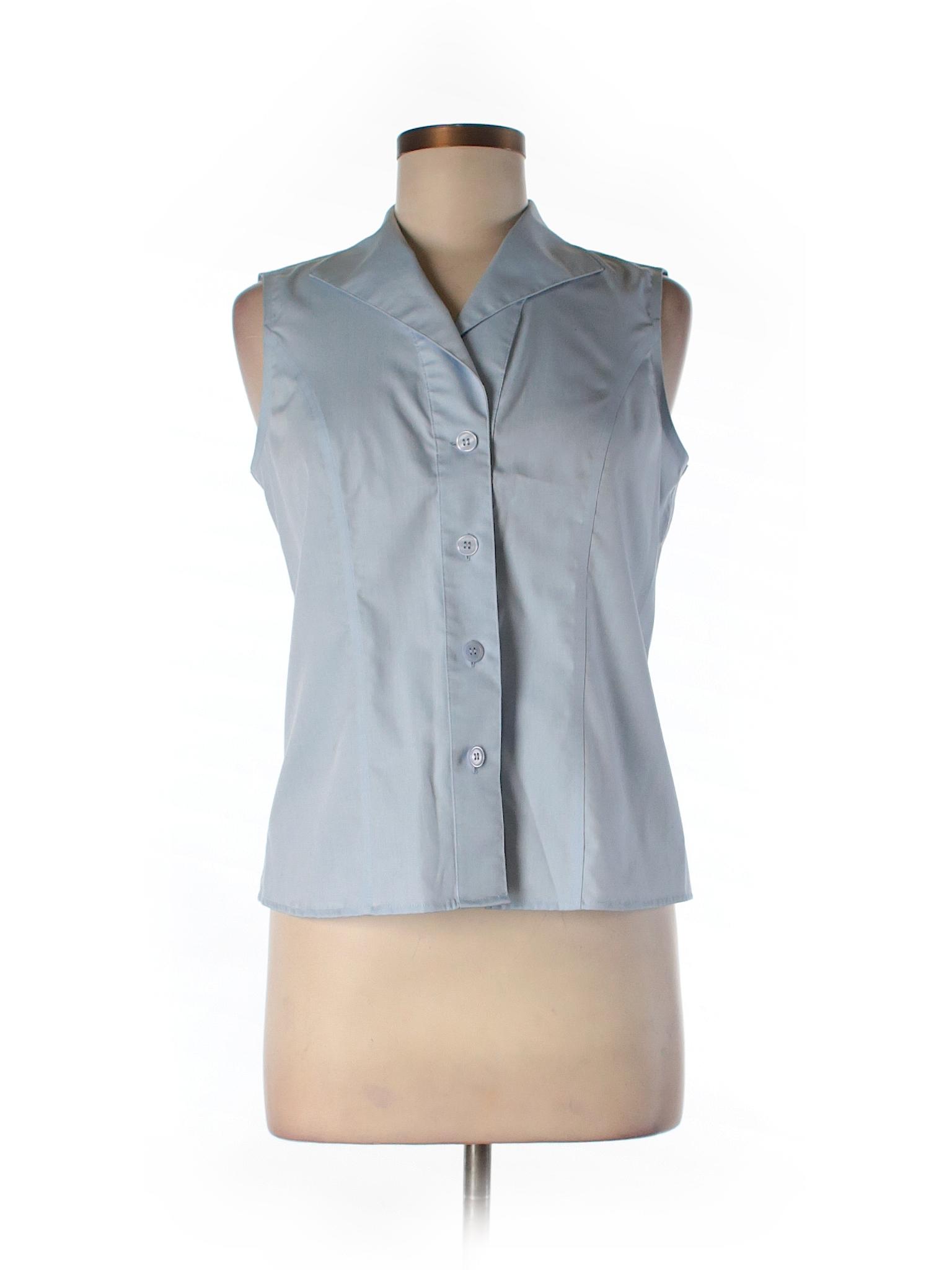 Calvin klein sleeveless button down shirt 83 off only for Sleeveless cotton button down shirts