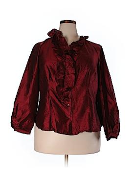 Sunny Leigh Long Sleeve Silk Top Size 18 (Plus)