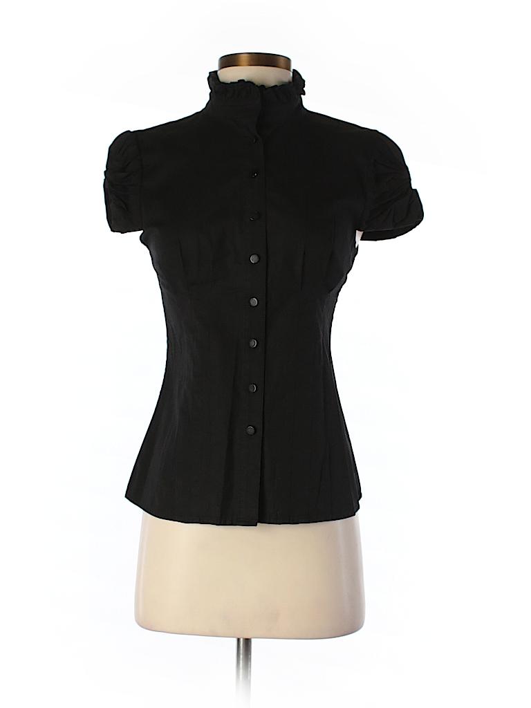 Catherine Malandrino Women Short Sleeve Button-Down Shirt Size 2