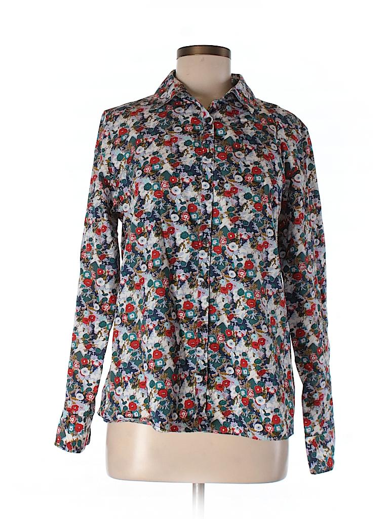 Lands 39 end 100 baumwolle floral teal long sleeve button for Lands end logo shirts
