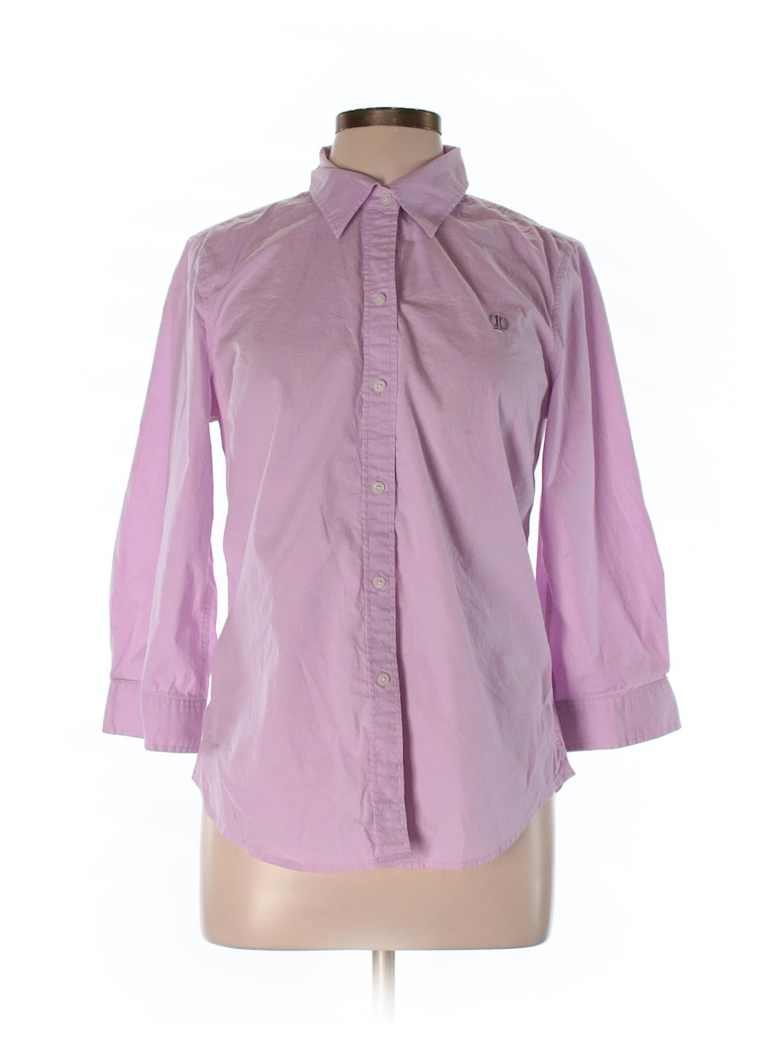 Izod Solid Light Purple 3 4 Sleeve Button Down Shirt Size