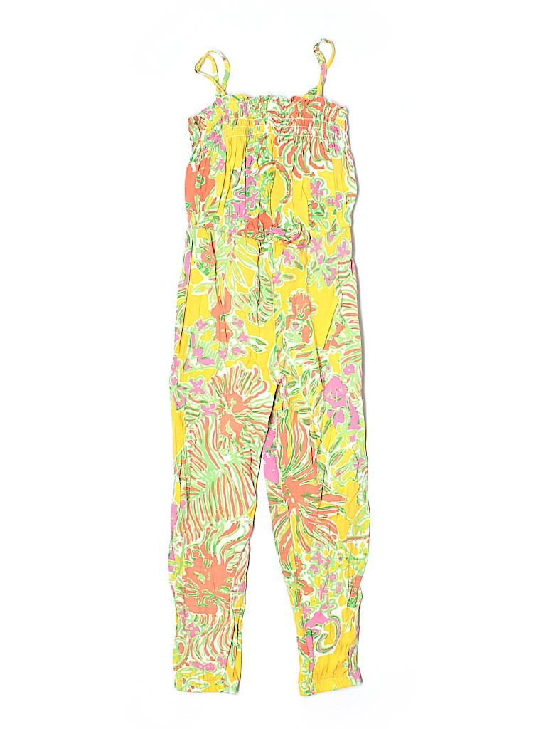 283a00002ed35e Lilly Pulitzer 100% Rayon Print Yellow Jumpsuit Size S (Kids) - 62 ...