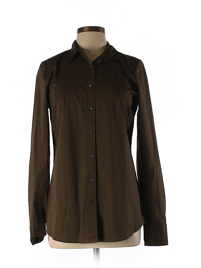 J crew solid dark green long sleeve button down shirt for Womens tall button down shirts