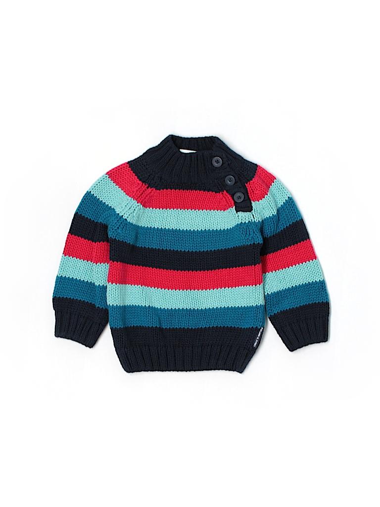 a459833748a4 Polarn O. Pyret 100% Cotton Stripes Navy Blue Pullover Sweater Size ...