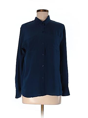 Laila & Savannah Long Sleeve Silk Top Size M