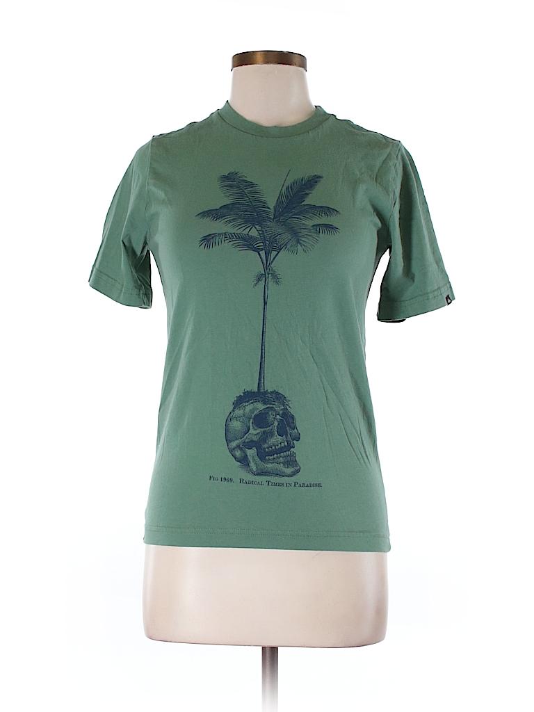 Quiksilver 100 cotton graphic dark green short sleeve t for Bureau quiksilver