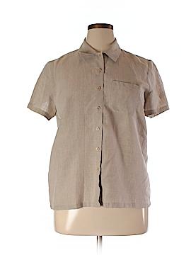 Saks Fifth Avenue Short Sleeve Button-Down Shirt Size XL (Petite)