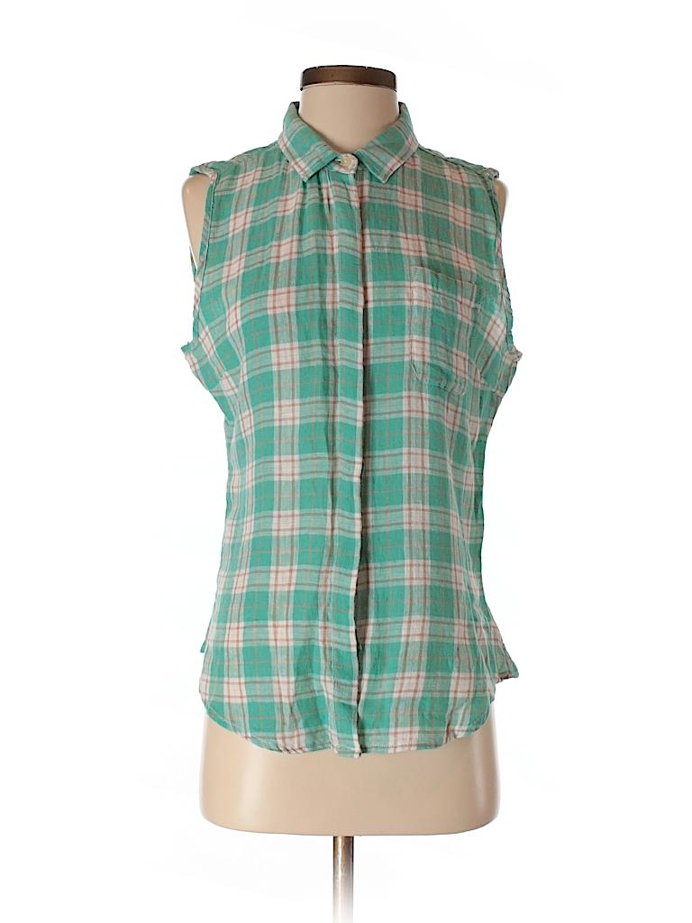 Aqua sleeveless button down shirt 67 off only on thredup for Sleeveless cotton button down shirts