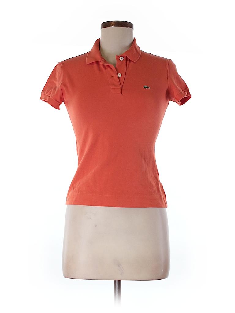 lacoste 100 cotton solid orange short sleeve polo size 38 eu 89 off thredup. Black Bedroom Furniture Sets. Home Design Ideas