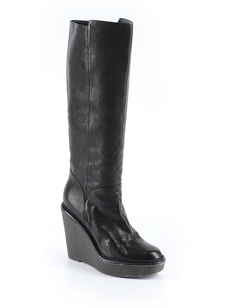 Yves saint laurent 100 leather solid black boots size 40 for Bureau yves saint laurent