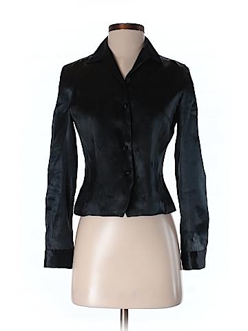 Rena Rowan Women Long Sleeve Silk Top Size 4 (Petite)