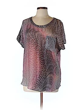 Waverly Grey Short Sleeve Silk Top Size 10