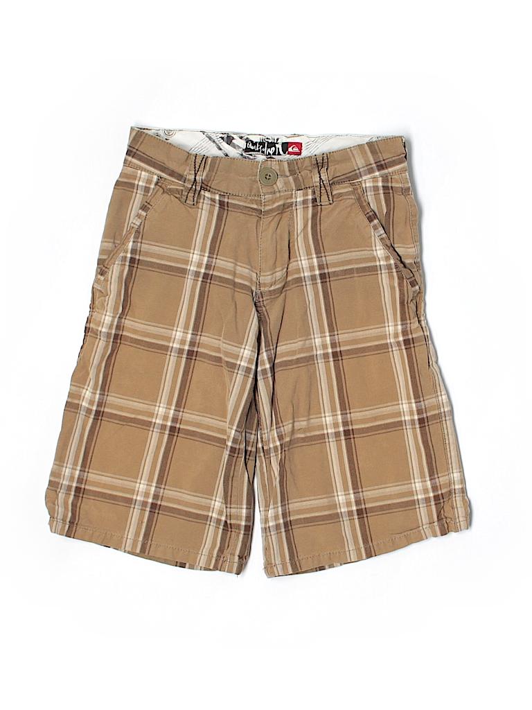 Quiksilver 100 cotton plaid tan khaki shorts size 8 slim for Bureau quiksilver