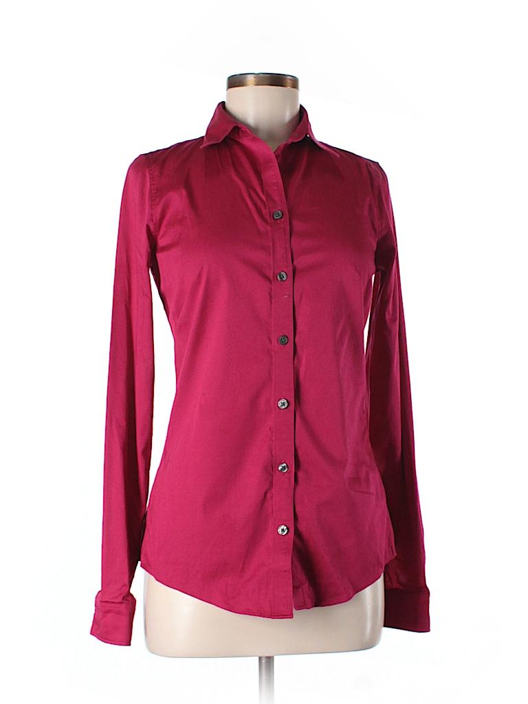 Banana republic solid pink long sleeve button down shirt for Womens tall button down shirts