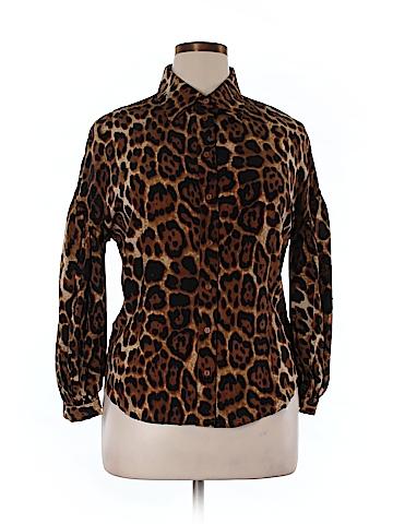 Spiegel Long Sleeve Silk Top Size 14