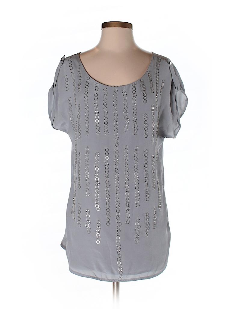 Aryn K. Women Short Sleeve Silk Top Size L