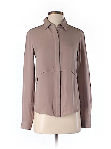 Theory Long Sleeve Silk Top Size P
