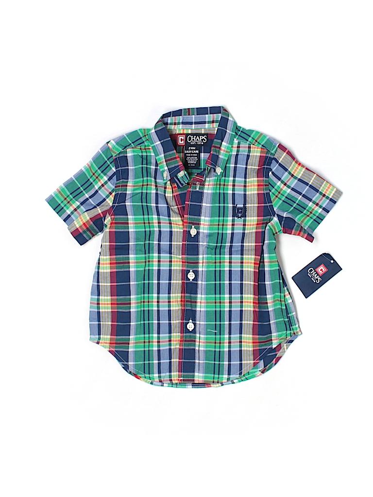 Chaps plaid navy blue short sleeve button down shirt size for Chaps button down shirts