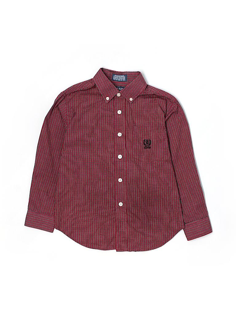 Izod 100 Cotton Plaid Red Long Sleeve Button Down Shirt