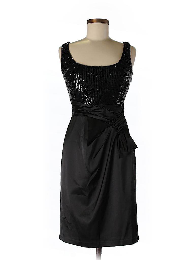 David Meister 100% Polyester Metallic Black Cocktail Dress Size 8 ...