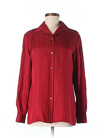 Bill Burns Long Sleeve Silk Top Size 8