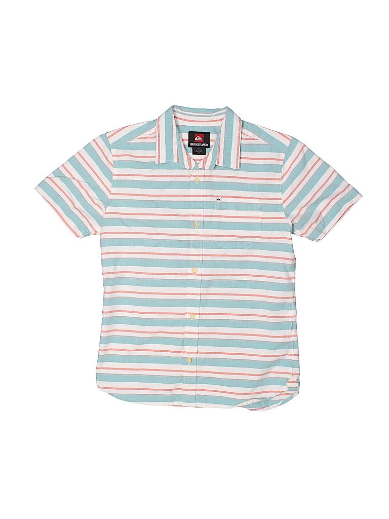 Quiksilver stripes blue short sleeve button down shirt for Bureau quiksilver