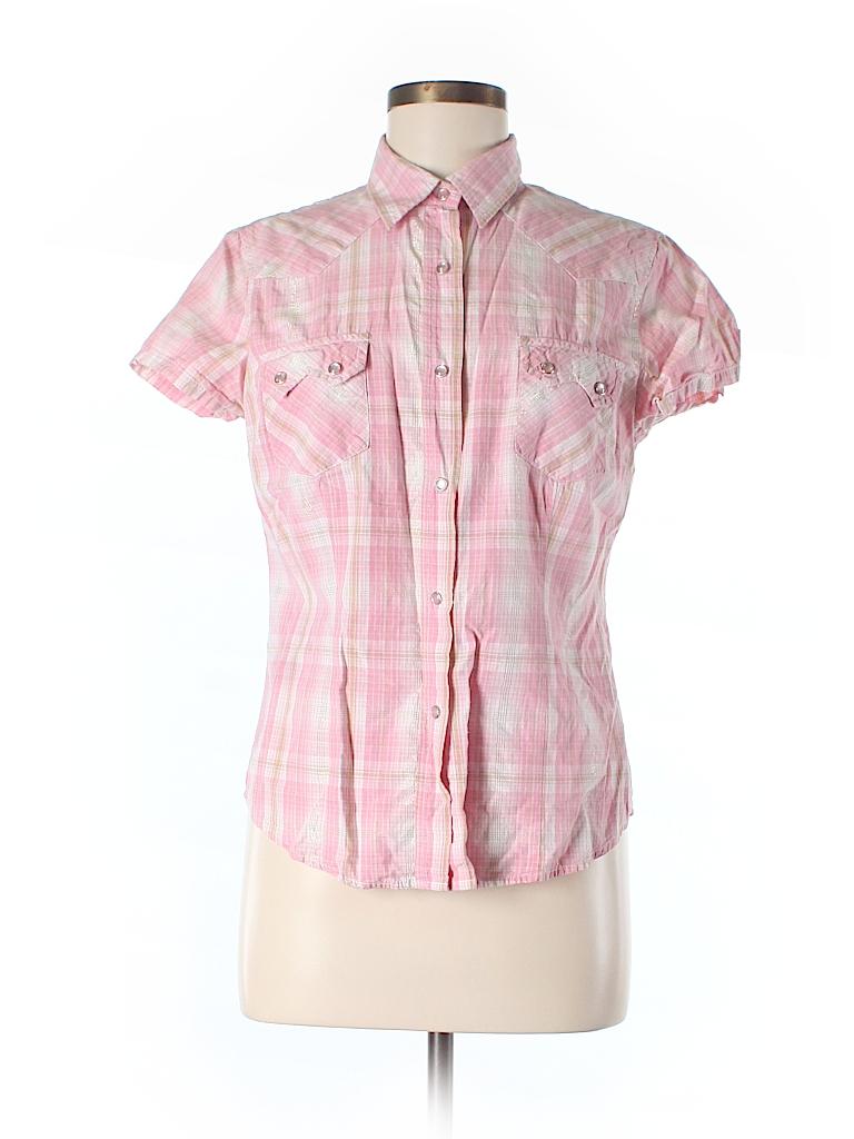 Shyanne 100 Cotton Plaid Light Pink Short Sleeve Button