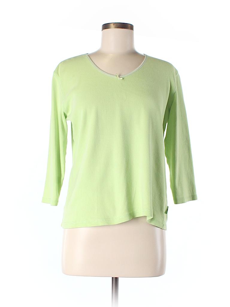 Liz claiborne 100 cotton solid light green 3 4 sleeve t for Liz claiborne v neck t shirts