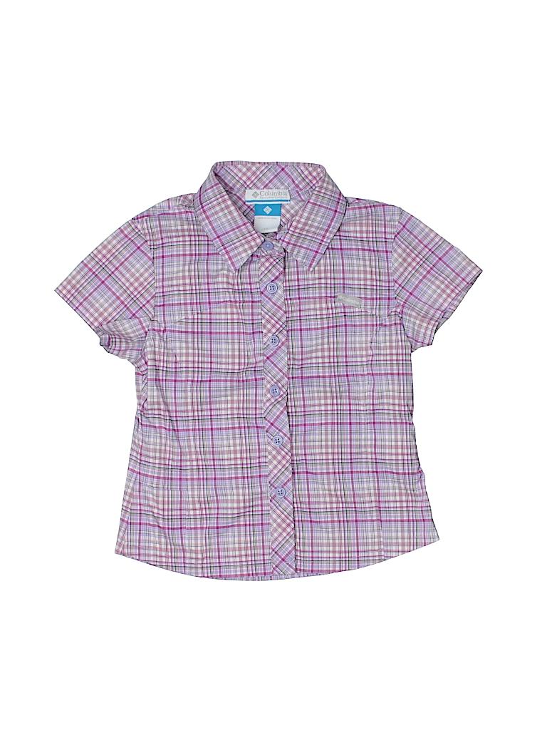 Columbia Plaid Light Purple Short Sleeve Button Down Shirt