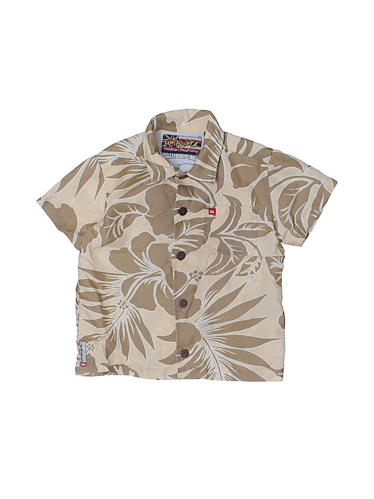 Quiksilver tropical tan short sleeve button down shirt for Bureau quiksilver