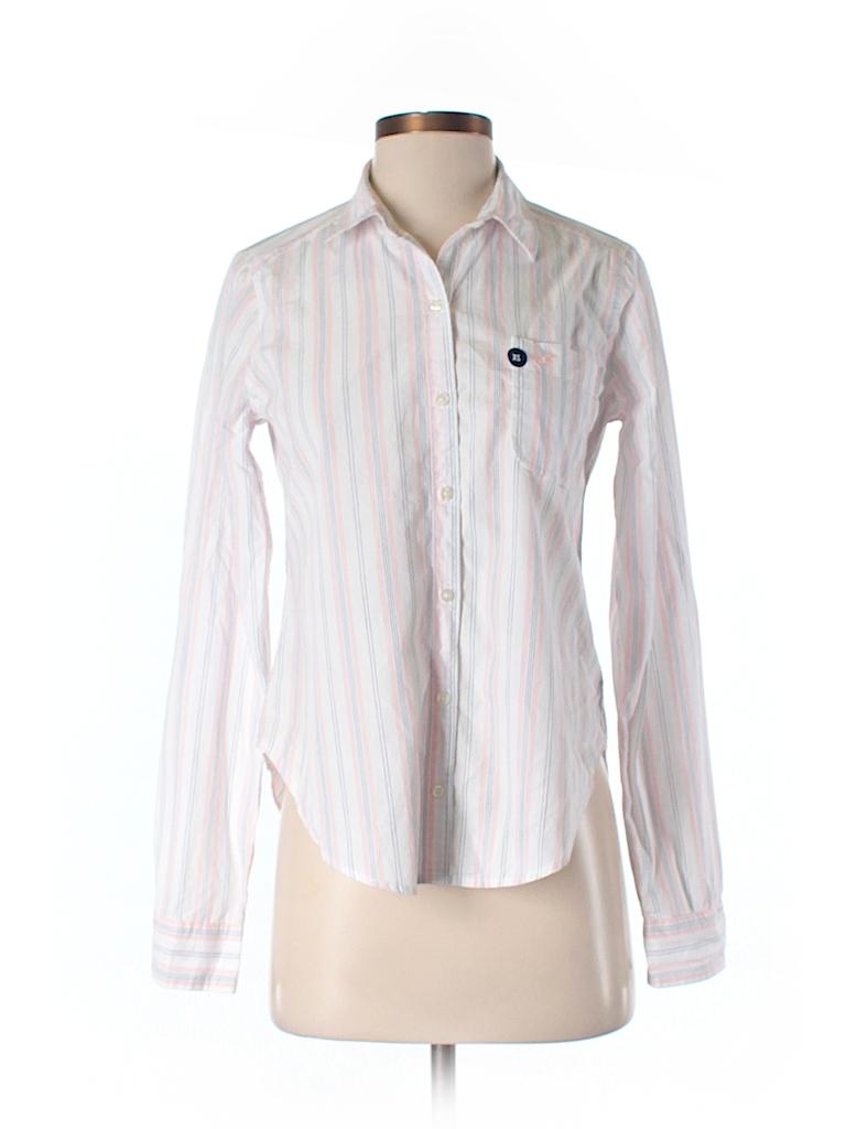 Hollister 100 Cotton Stripes Light Pink Long Sleeve