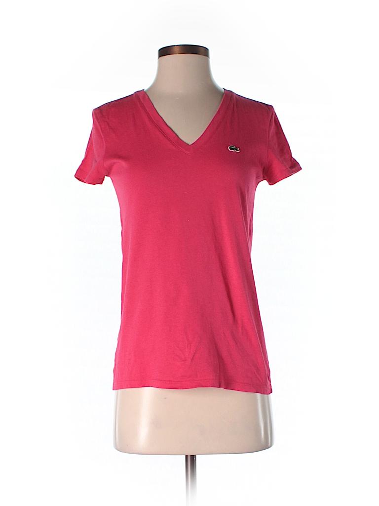 lacoste 100 cotton solid pink short sleeve t shirt size 36 eu 75 off thredup. Black Bedroom Furniture Sets. Home Design Ideas
