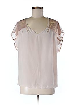 Waverly Grey Short Sleeve Silk Top Size M