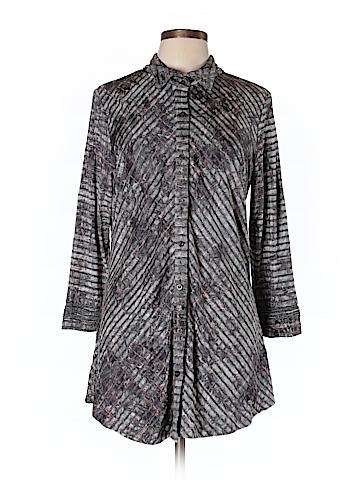 Boho Chic Long Sleeve Button-Down Shirt Size L