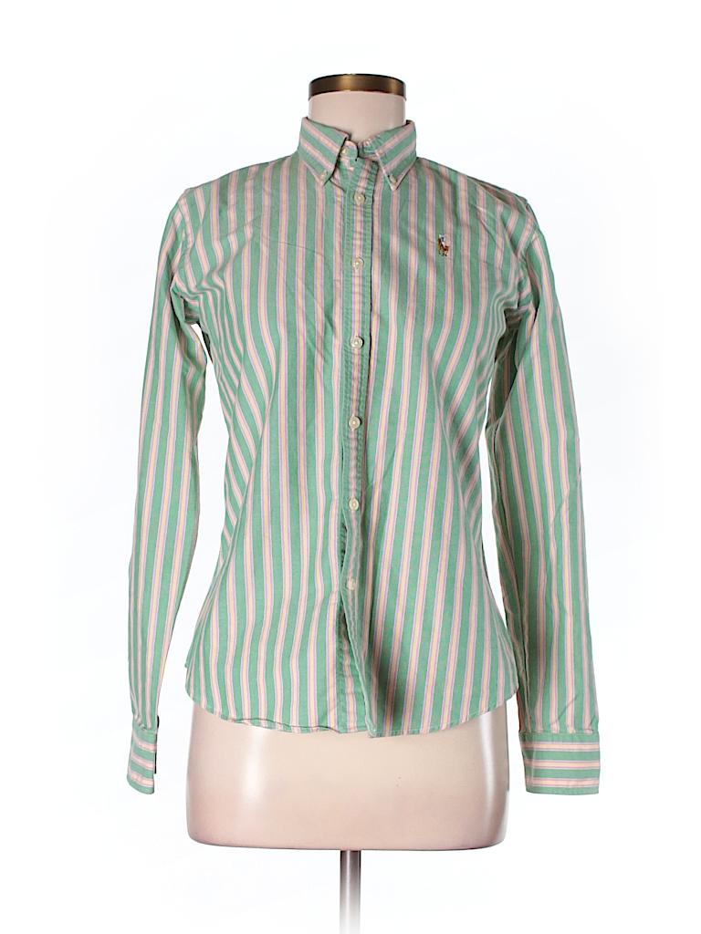 b1b911b19df4b3 Ralph Lauren 100% Cotton Stripes Light Green Long Sleeve Button-Down ...