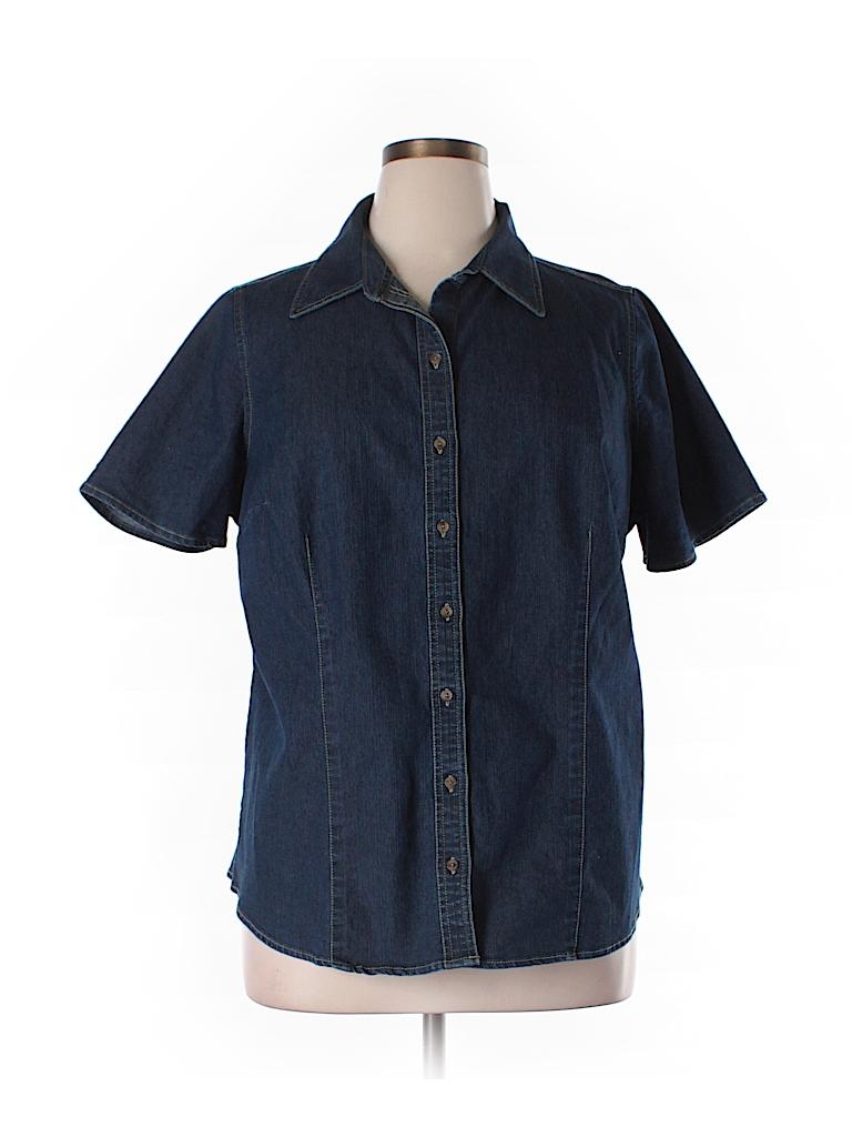 St John 39 S Bay Solid Dark Blue Short Sleeve Button Down