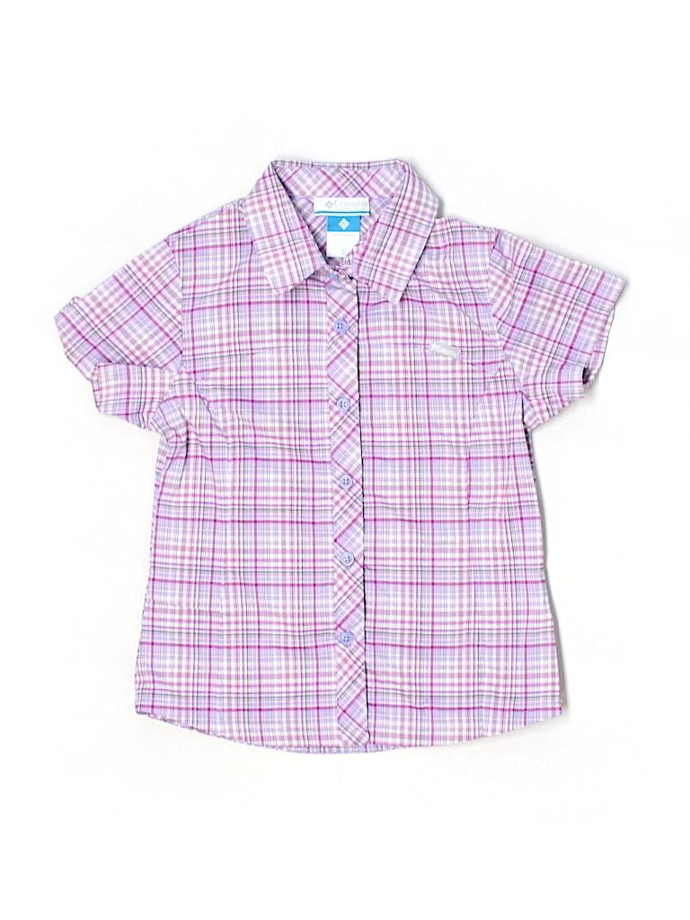 Columbia Plaid Purple Short Sleeve Button Down Shirt Size