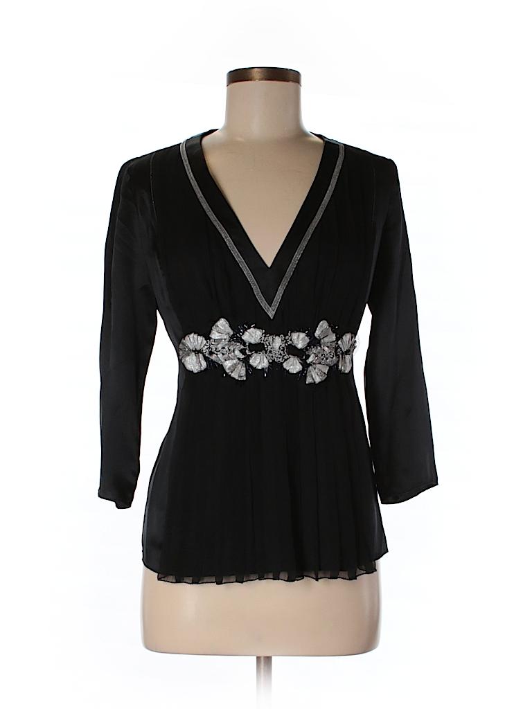 Max Studio Women 3/4 Sleeve Silk Top Size S