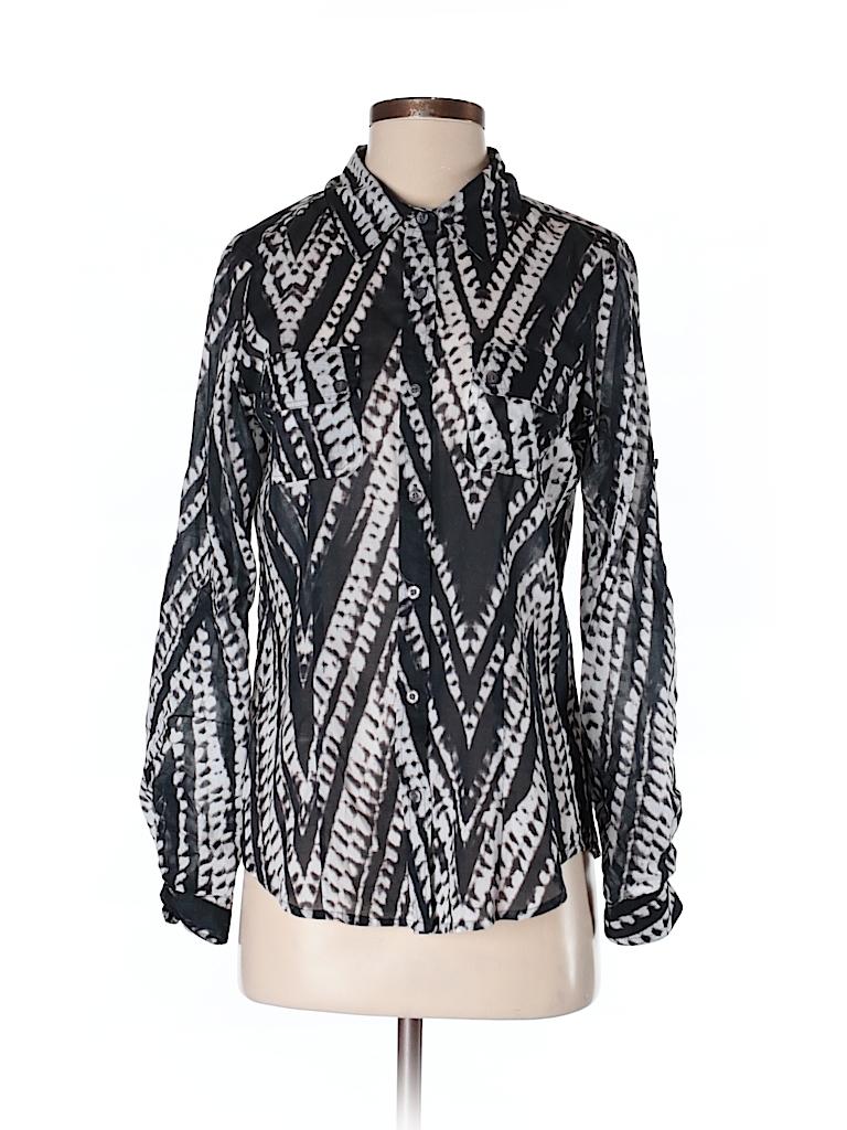 cf3a60f8 Calvin Klein 100% Cotton Chevron Herringbone Gray Long Sleeve Button ...
