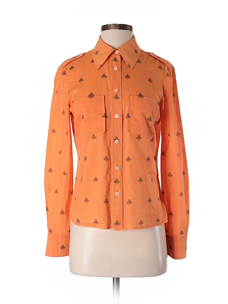 Tory burch 100 cotton print orange long sleeve button for Tory burch button down shirt