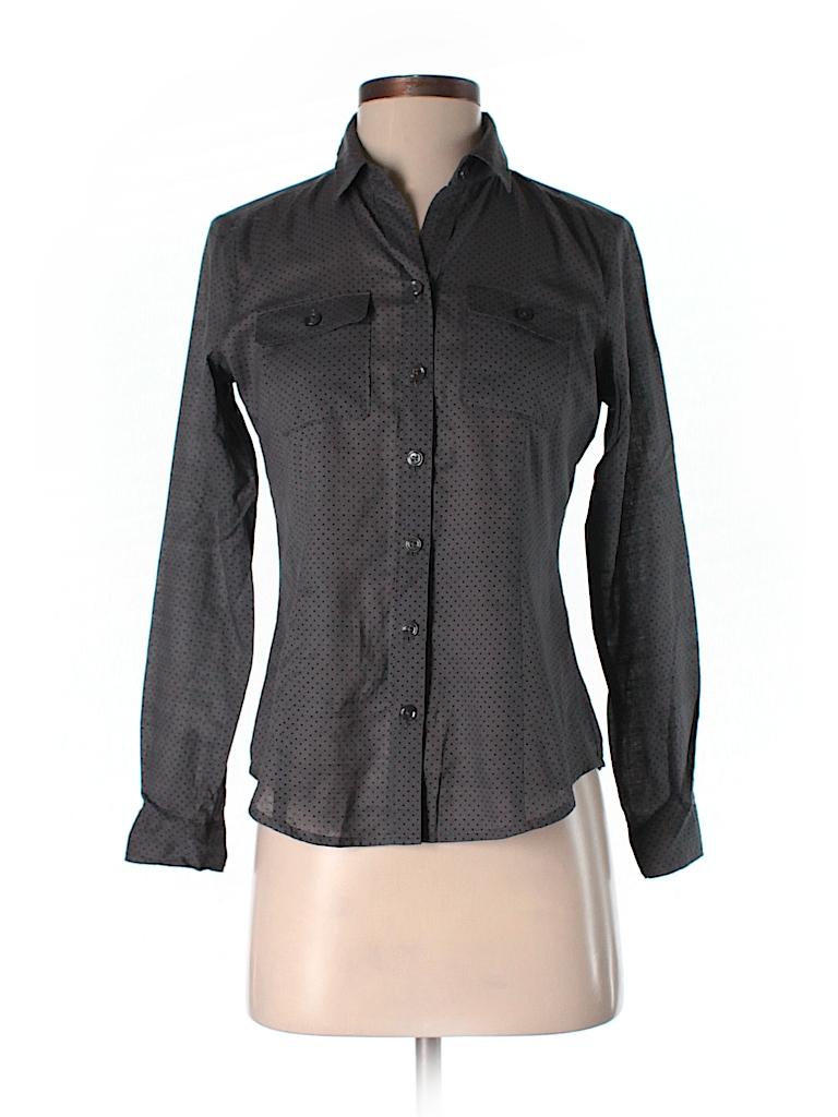 a7640719a381 BCBGMAXAZRIA 100% Cotton Polka Dots Gray Long Sleeve Button-Down ...