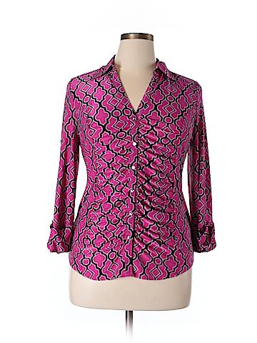 INC International Concepts Long Sleeve Blouse Size XL