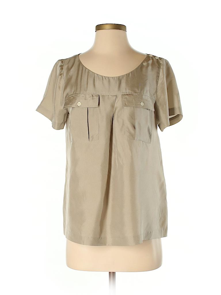 382def7133b J. Crew 100% Silk Solid Beige Short Sleeve Silk Top Size 2 - 82% off ...
