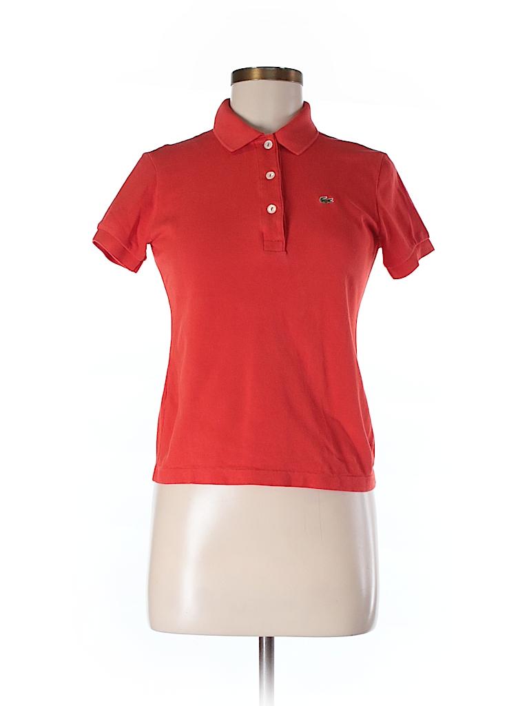 lacoste 100 cotton solid orange short sleeve polo size 40 eu 92 off thredup. Black Bedroom Furniture Sets. Home Design Ideas