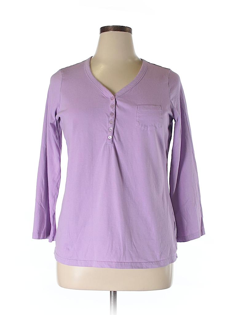 e448f4864a Roaman s 100% Cotton Solid Purple 3 4 Sleeve Henley Size 14 (M) - 83 ...