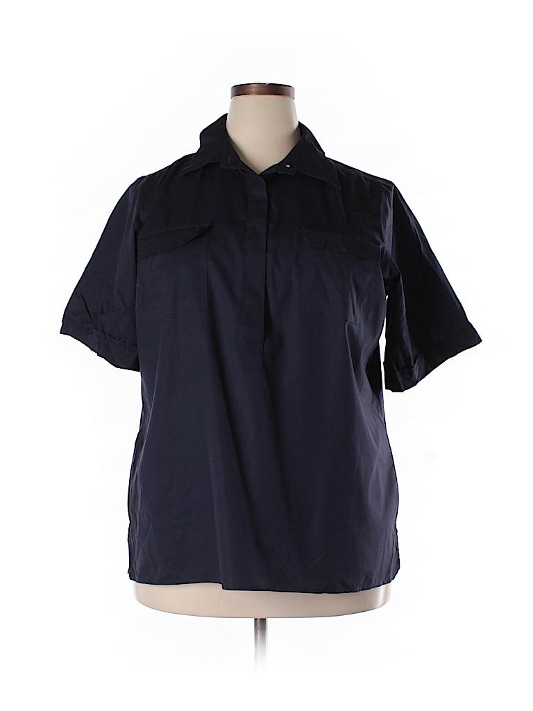 Lands 39 End Solid Dark Blue Short Sleeve Button Down Shirt
